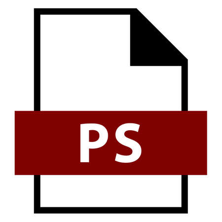 Use it in all your designs. Filename extension icon PS PostScript in flat style. Quick and easy recolorable shape. Vector illustration a graphic element. Illustration