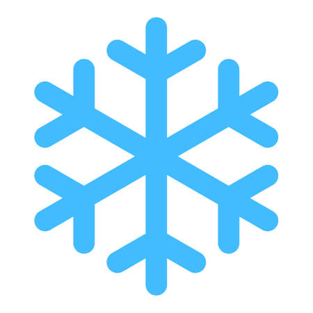 Use it in all your designs. Flat snowflake low temperature sign. Quick and easy recolorable shape isolated from background. Vector illustration a graphic element