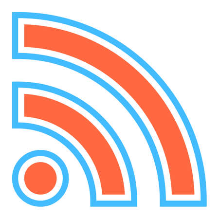 really simple syndication: Use it in all your designs. Flat Wi-Fi signal or RSS icon Really Simple Syndication sign subscribe button. Quick and easy recolorable shape. Vector illustration a graphic element