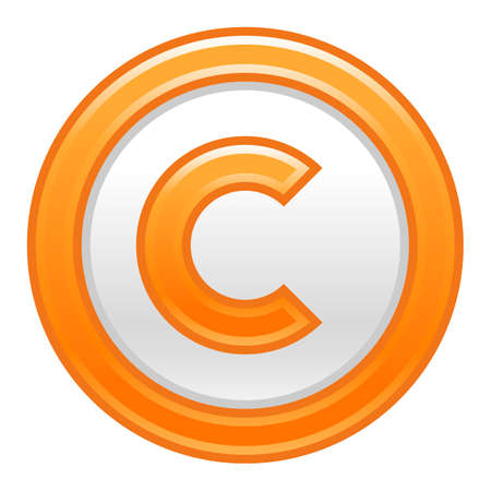 Use it in all your designs. The copyright symbol, or copyright sign, a circled capital letter C. Orange rounded matte button web internet icon. Vector illustration a graphic element for design. Illustration