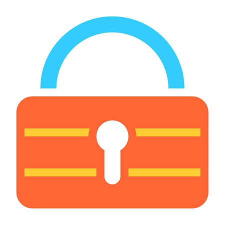 Flat padlock icon lock sign password button. Quick and easy recolorable shape isolated from background. Vector illustration a graphic element for web internet design.