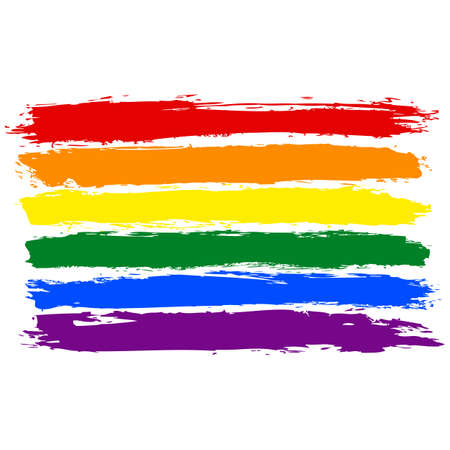 rainbow: Rough paint brush stroke made in the colors of the rainbow pride flag LGBT movement. Quick and easy recolorable graphic element in technique vector illustration Illustration