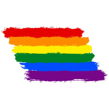 Rough paint brush stroke made in the colors of the rainbow pride flag LGBT movement. Quick and easy recolorable graphic element in technique vector illustration Illustration