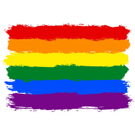 rainbow: Rough paint brush stroke made in the colors of the rainbow pride flag LGBT movement. Quick and easy recolorable graphic element in technique rainbow illustration