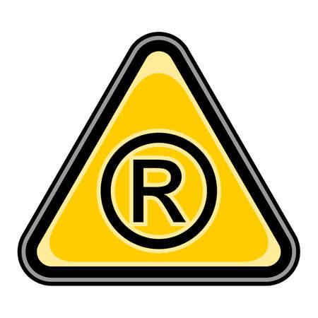 Quick and easy recolorable vector illustration. Yellow and black triangular sticker with registered trademark sign.