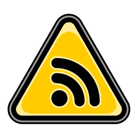 really simple syndication: Yellow and black triangular sticker with Wi-Fi signal icon or RSS sign.