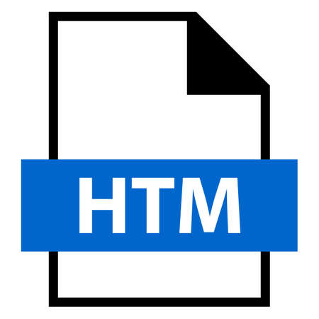 Filename extension icon HTM or HTML HyperText Markup Language in flat style Vector illustration