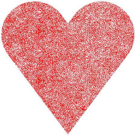 leather texture: Red heart with effect paint texture Vector illustration Illustration