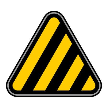 Triangle hazard with diagonal warning stripes. Illustration