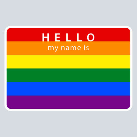 Blank name tag sticker HELLO my name is rectangular badge painted in the colors of the LGBT movement rainbow flag vector illustration Illustration