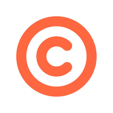 rotund: The copyright symbol, a circled capital letter C. Flat style button web internet icon Vector illustration Illustration