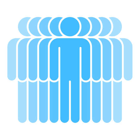 A Logotype in the form of nine people standing with hands down painted in shades of blue color.