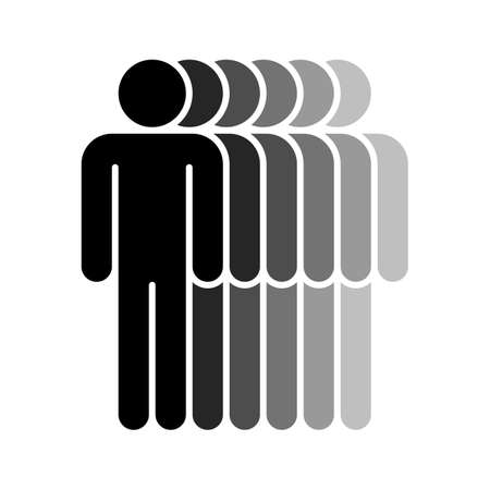 A Logotype in the form of six people standing with hands down painted in shades of black color.