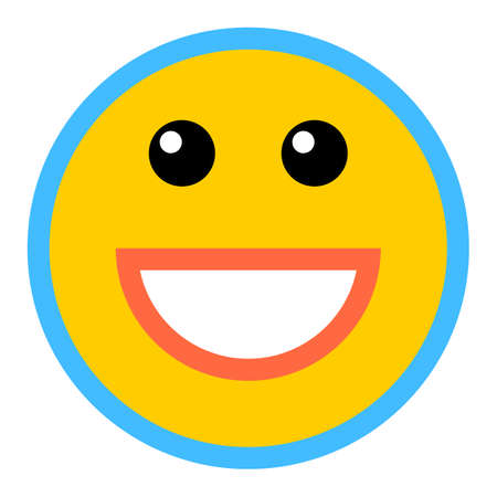 Smiley happy smiling face emoticon icon in flat style.