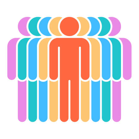 A Logotype in the form of nine people standing painted in purple, green, blue, yellow, red colors. Illustration