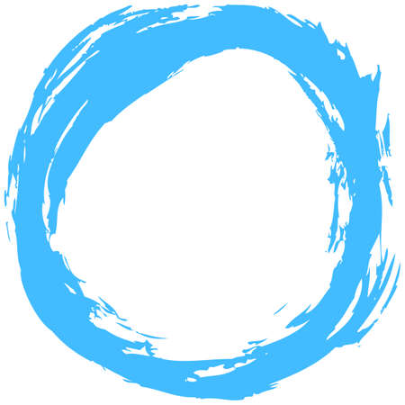 Use it in all your designs. Blue brush stroke in the form of a circle. Inking drawing created in sketch handmade technique. Quick and easy recolorable shape. Vector illustration a graphic element Ilustração