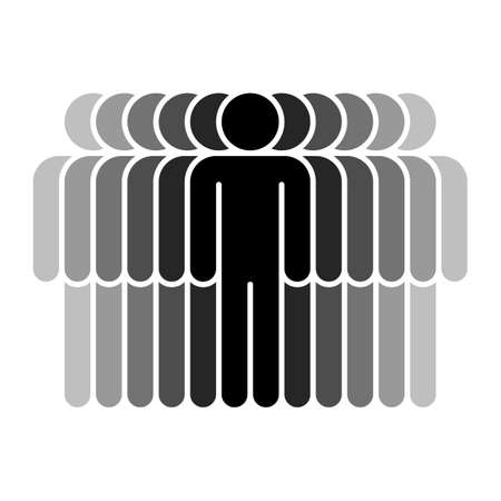 Logotype in the form of eleven people standing with hands down painted in shades of black color. Quick and easy recolorable graphic element in technique vector illustration