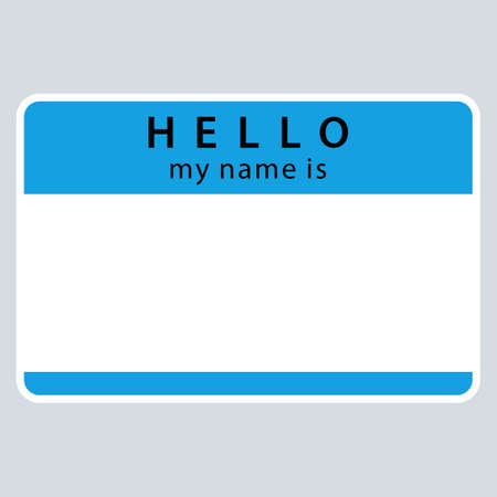 Use it in all your designs. Blue blank name tag sticker HELLO my name is rounded rectangular badge. Quick and easy recolorable graphic element in technique vector illustration
