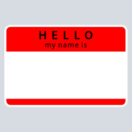 Use it in all your designs. Red blank name tag sticker HELLO my name is rounded rectangular badge. Quick and easy recolorable graphic element in technique vector illustration