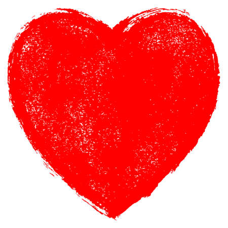 Red heart symbol created with texture in handmade watercolor technique.
