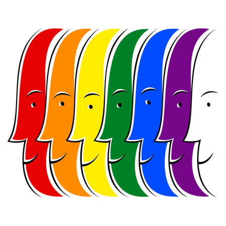 Use it in all your designs. The smiling faces of the people created in the colors of the LGBT movement rainbow flag. Quick and easy recolorable graphic element in technique vector illustration