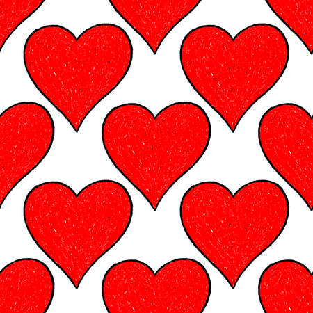Use it in all your designs. Sketch drawing seamless pattern with red heart sign with contour. Quick and easy recolorable shape. Vector illustration a graphic element Illustration