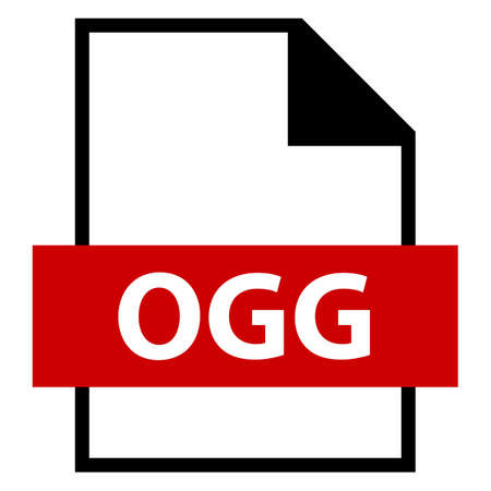 Use it in all your designs. Filename extension icon OGG free open container format in flat style. Quick and easy recolorable shape. Vector illustration a graphic element.