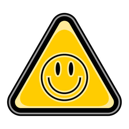 Use it in all your designs. Quick and easy recolorable vector illustration. Yellow and black triangular sticker with smiley face sign. Triangle hazard, warning, danger symbol Illustration