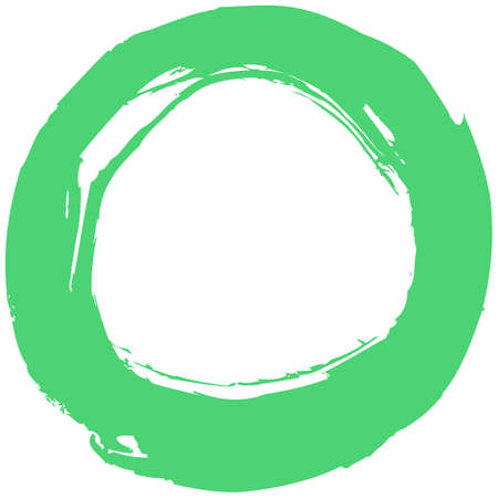 Use it in all your designs. Green brush stroke in the form of a circle. Inking drawing created in sketch handmade technique. Quick and easy recolorable shape. Vector illustration a graphic element Illustration