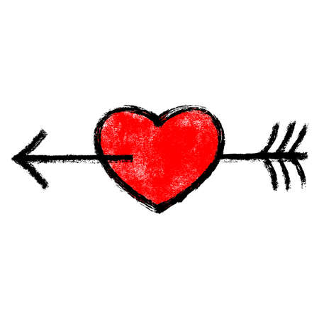 Use it in all your designs. Red heart pierced by an black arrow. Popular symbol created with texture in handmade watercolor technique. Vector illustration a graphic element.