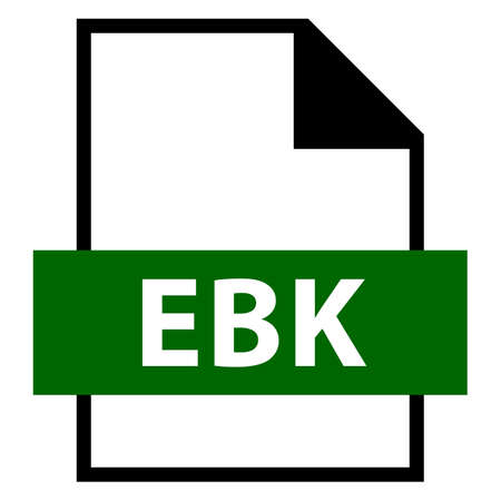 Use it in all your designs. Filename extension icon EBK EARS Database Backup or Email Saver Xe Backup File or Embiid Reader eBook in flat style. Vector illustration a graphic element.