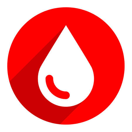 Use it in all your designs. White drop icon on circular icon. Blood sign in flat long shadow style. Vector illustration a graphic element for design