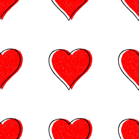 Use it in all your designs. Sketch drawing seamless pattern with red heart sign with black line contour. Quick and easy recolorable shape. Vector illustration a graphic element. Illustration