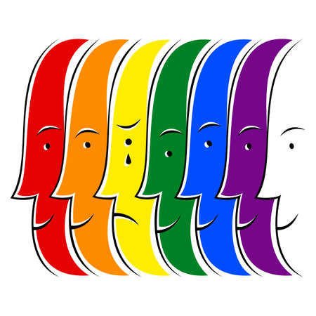 Use it in all your designs. Crying man among people smiling and painted in the colors of the LGBT movement rainbow flag. Quick and easy recolorable graphic element in technique vector illustration