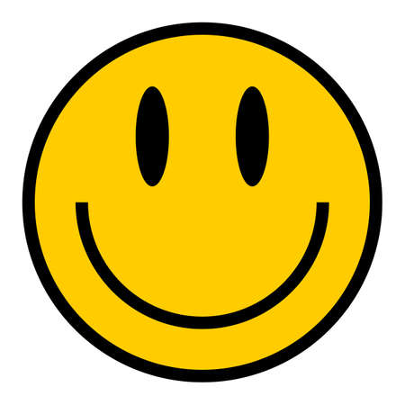 Use it in all your designs. Smiley happy smiling face emoticon icon in flat style. Quick and easy recolorable graphic element in technique vector illustration