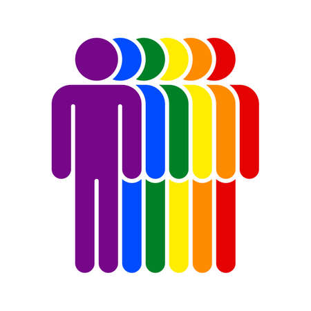 Six man figures painted in the colors of the LGBT movement rainbow flag. Quick and easy recolorable graphic element in technique vector illustration
