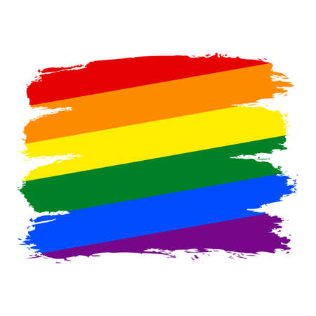 Use it in all your designs. Rough paint brushstroke made in the colors of the rainbow pride flag LGBT movement. Quick and easy recolorable graphic element in technique vector illustration