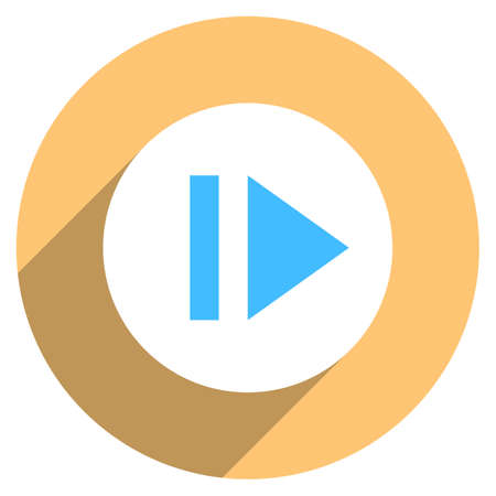 Use it in all your designs. Arrow sign eject icon in circular shape. Multimedia audio video movie interface button in flat long shadow style. Vector illustration a graphic element for design Illustration