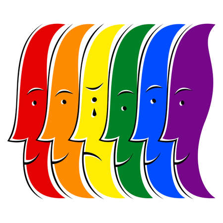 frenzy: Use it in all your designs. Crying man among people smiling and painted in the colors of the LGBT movement rainbow flag. Quick and easy recolorable graphic element in technique vector illustration