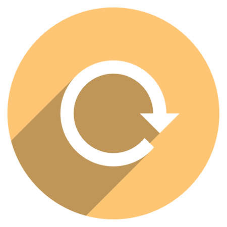 Use it in all your designs. Arrow sign reload, refresh, rotation, loop, repetition, reset icon in circular web internet button in flat long shadow style. Vector illustration a graphic design element Ilustração