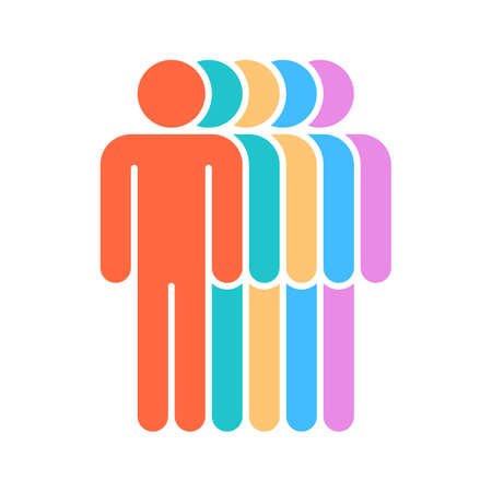 Logotype in the form of five people standing painted in red, green, yellow, blue, purple colors. Quick and easy recolorable graphic element in technique vector illustration Illustration