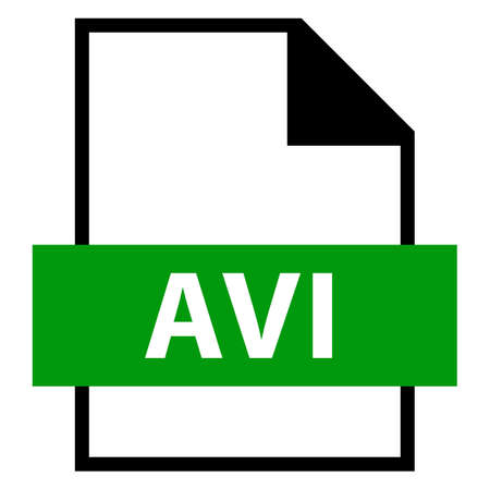 avi: Use it in all your designs. Filename extension icon AVI Audio Video Interleaved in flat style. Quick and easy recolorable shape. Vector illustration a graphic element.
