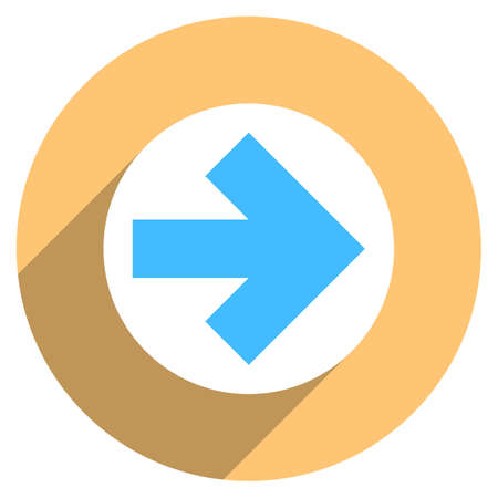 rotund: Use it in all your designs. Arrow sign direction icon in circular shape. Flat web internet button with long shadow. Quick and easy recolorable shape. Vector illustration a graphic element.