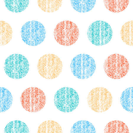 Use it in all your designs. Seamless pattern with color polka dots. Circle shape with old painted texture. Retro vintage wallpaper. Vector illustration a graphic element.