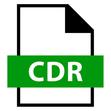 Use it in all your designs. Filename extension icon CDR CorelDRAW file format in flat style. Quick and easy recolorable shape. Vector illustration a graphic element. Illustration