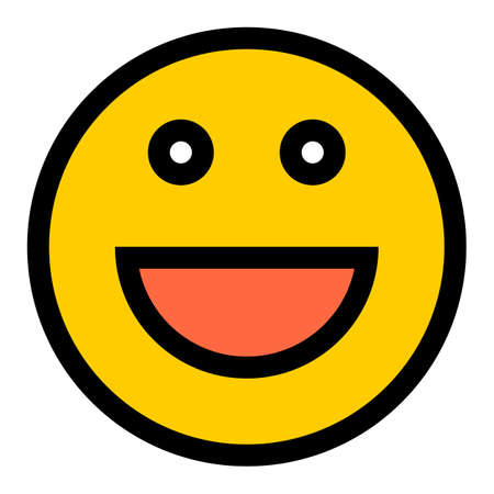 Use it in all your designs. Smiley happy smiling face emoticon icon in flat style. Quick and easy recolorable shape. Vector illustration a graphic element