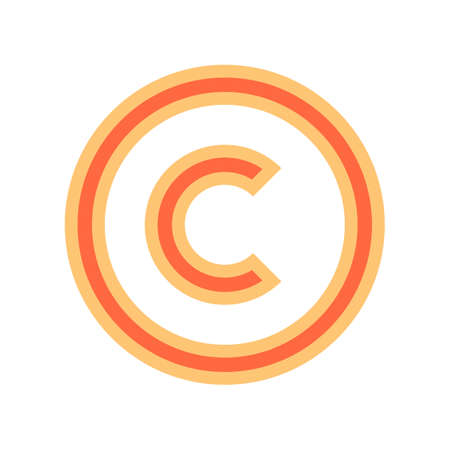 Use it in all your designs. The copyright symbol, or copyright sign, a circled capital letter C. Flat style button web internet icon. Vector illustration a graphic element for design
