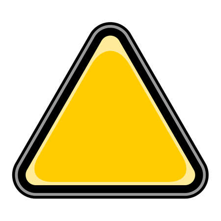 Use it in all your designs. Quick and easy recolorable vector illustration. Blank triangle hazard, attention, warning, danger sign. Empty triangular sticker in yellow and black colors.