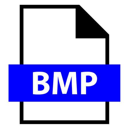 모든 디자인에서 사용하십시오. 파일 이름 확장 아이콘 BMP 비트 맵 이미지 파일 또는 플랫 스타일의 장치 독립 비트 맵 파일 형식. 벡터 일러스트 레이  일러스트