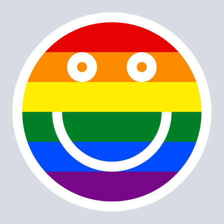 joyfulness: Use it in all your designs. Emoticon smiley icon happy smiling face painted in the colors of the LGBT movement rainbow flag. Quick and easy recolorable graphic element in technique vector illustration Illustration